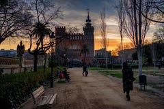 Een wandeling in het park Barcelona stock afbeelding