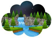Een watervalscène bij nacht stock illustratie