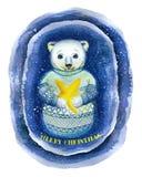 Een waterverf die op het thema van Nieuwjaar en Kerstmis, een tekening trekken van een ijsbeer, Stock Fotografie