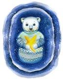 Een waterverf die op het thema van Nieuwjaar en Kerstmis, een tekening trekken van een ijsbeer, in de techniek van een beeldverha Royalty-vrije Stock Foto