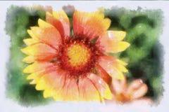 Een waterverfbeeld van een bloem Stock Afbeelding