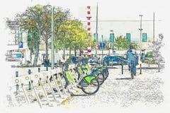 Een waterverfschets of een illustratie De huur van de straatfiets in Lissabon royalty-vrije illustratie