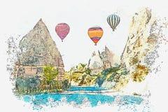 Een een waterverfschets of illustratie Hete luchtballon in de hemel in Kapadokia in Turkije royalty-vrije illustratie