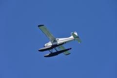 Een watervliegtuig tijdens de vlucht stock foto's