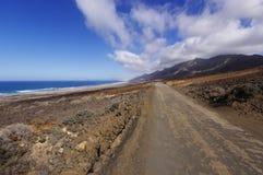 Een weg aan Playa DE Cofete Royalty-vrije Stock Foto
