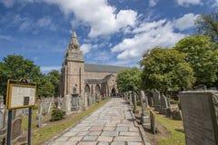 Een weg aan St Machar kathedraalingang dichtbij Seaton-park, Aberdeen royalty-vrije stock afbeeldingen