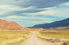 Een weg bij de woestijn Stock Foto's