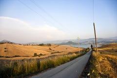 Een weg en een meer stock afbeeldingen
