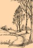 Een weg in het park vector illustratie