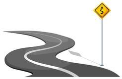 Een weg met gele signage stock illustratie