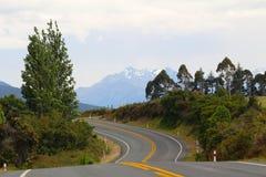 Een weg op het Zuideneiland Nieuw Zeeland met typische wilde landscap stock afbeeldingen