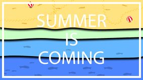 Een weinig futuristisch afficheontwerp voor de het naderbij komen zomer en het strandseizoen, vakantieseizoen en pret, vermaak en stock illustratie