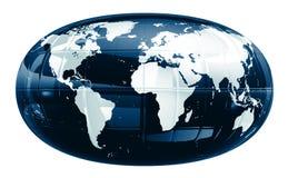 Een wereldkaart - glanzende f1s royalty-vrije illustratie