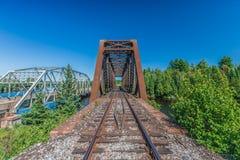 Een werkelijk lange spoorweg Stock Foto