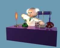 Een wetenschapper die zijn experiment op werkbank nadenkt vector illustratie