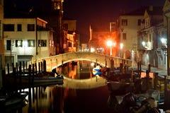Een wiev van Chioggia bij nacht Royalty-vrije Stock Afbeeldingen