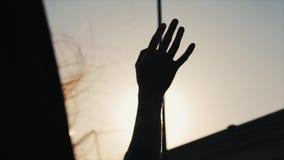 Een wijfje die een auto berijden en haar houden deelt van het venster uit Haar haar vliegt in de vleugel Dichte Mening Achter men stock video