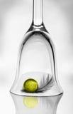 Een wijnglas, een bal en een veer Royalty-vrije Stock Foto