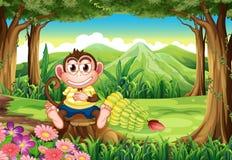 Een wildernis met een aap boven de stomp royalty-vrije illustratie