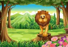 Een wildernis met een leeuw boven de stomp stock illustratie