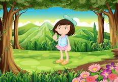 Een wildernis met een leuk jong meisje Royalty-vrije Stock Foto