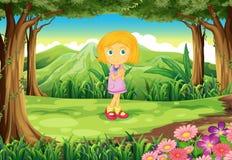 Een wildernis met een leuk meisje Stock Foto