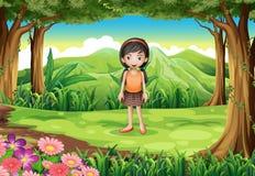 Een wildernis met een leuk meisje Royalty-vrije Stock Afbeelding