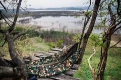 Een wildernishangmat hangt tussen bomen op de houten steiger Royalty-vrije Stock Afbeeldingen