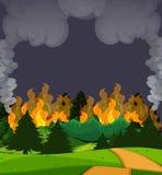 Een wildfire bosscène bij nacht stock illustratie