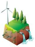 Een windmolen en waterpijpen vector illustratie