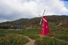 Een windmolen in huangshan ten westen van huangshan, anhuiprovincie Royalty-vrije Stock Foto