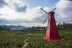 Een windmolen in huangshan ten westen van huangshan, anhuiprovincie Stock Fotografie