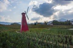 Een windmolen in huangshan ten westen van huangshan, anhuiprovincie Royalty-vrije Stock Fotografie