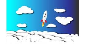 Een witte raket vliegt door de wolken aan het heelal stock illustratie
