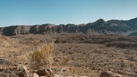 Een woestijn vulkanisch landschap van bevroren lava in de buurt van Teide-vulkaanCanarische Eilanden stock video