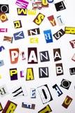 Een woord het schrijven tekst die die concept Plan een Plan B tonen van de verschillende brief van de tijdschriftkrant voor Bedri royalty-vrije stock afbeeldingen