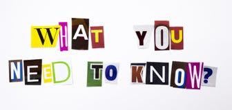 Een woord het schrijven tekst die concept tonen Wat u nodig hebt om vraag te kennen die van de verschillende brief van de tijdsch stock afbeelding