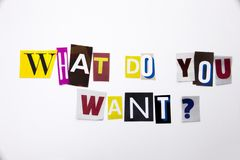 Een woord het schrijven tekst die concept tonen die WAT U VRAAG willen van de verschillende brief van de tijdschriftkrant voor Be Stock Foto