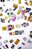 Een woord het schrijven tekst die concept tonen die WAT U VRAAG willen van de verschillende brief van de tijdschriftkrant voor Be Royalty-vrije Stock Foto
