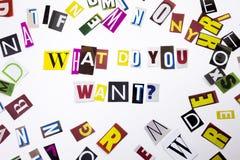 Een woord het schrijven tekst die concept tonen die WAT U VRAAG willen van de verschillende brief van de tijdschriftkrant voor Be Royalty-vrije Stock Afbeelding