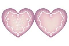 Een zacht roze hart-vormig karton voor de Dag van Valentine ` s op 14 Februari Ornament in uitstekende, Victoriaanse stijl Stock Afbeeldingen