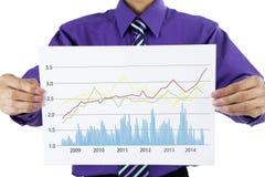 Een zakenman die bedrijfsstatistieken tonen Stock Afbeelding