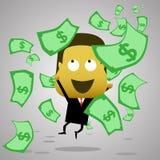 Een zakenman die en geld springen vangen dalend van de hemel Royalty-vrije Stock Fotografie