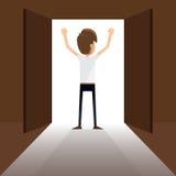 Een zakenman en een open deur Stock Afbeelding