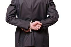 Een zakenman is gebonden met een usbkabel Royalty-vrije Stock Afbeeldingen
