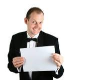 Een zakenman met kaasachtige glimlach. Stock Afbeeldingen