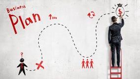 Een zakenman trekt een rood en zwart vereenvoudigd businessplan als kaart aan succes op een witte muur royalty-vrije stock afbeelding