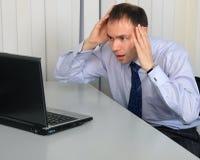 Een zakenman in verschrikking Stock Fotografie