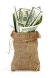 Een zakhoogtepunt van contant geld Royalty-vrije Stock Afbeelding