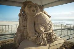 Een zandbeeldhouwwerk van de film Kung Fu Panda Stock Foto